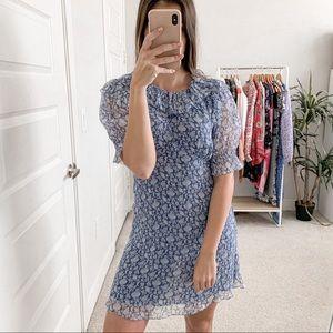 Doen Baudoin Silk Floral Mini Dress Porcelain Blue